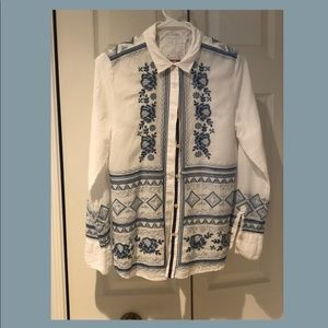 Johnny Was cotton embroidered shirt